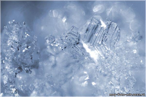 Фото абстракция снег и лёд макро